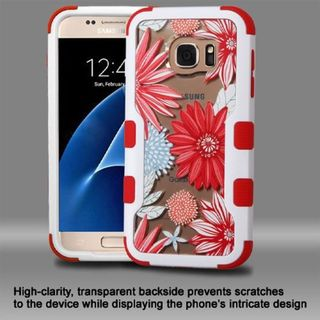 Insten Red/ White Spring Daisies Hard PC/ Silicone Dual Layer Hybrid Rubberized Matte Case Cover For Samsung Galaxy S7