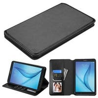 Insten Black Leather Case Cover with Stand/ Wallet Flap Pouch For Samsung Galaxy Tab E 8
