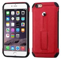 Insten Red/ Black Leather Silicone Dual Layer Hybrid Case Cover with Ring stand For Apple iPhone 6 Plus/ 6s Plus