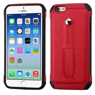 Insten Red/ Black Leather Silicone Dual Layer Hybrid Case Cover with Ring stand For Apple iPhone 6/ 6s