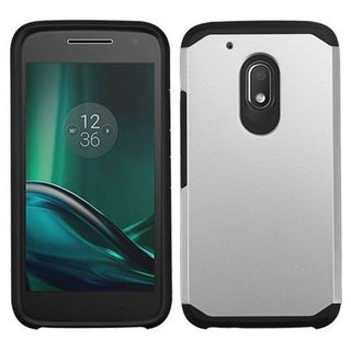 Insten Silver/ Black Hard PC/ Silicone Dual Layer Hybrid Rubberized Matte Case Cover For Motorola Moto G4 Play