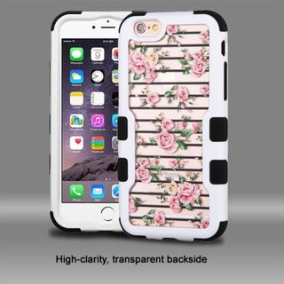 Insten Pink/ White Roses Hard PC/ Silicone Dual Layer Hybrid Rubberized Matte Case Cover For Apple iPhone 6 Plus/ 6s Plus