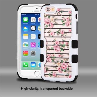Insten Pink/ White Roses Hard PC/ Silicone Dual Layer Hybrid Rubberized Matte Case Cover For Apple iPhone 6/ 6s