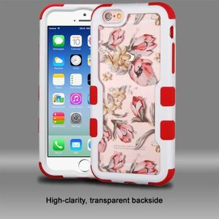 Insten Red/ White Flowers Hard PC/ Silicone Dual Layer Hybrid Rubberized Matte Case Cover For Apple iPhone 6/ 6s