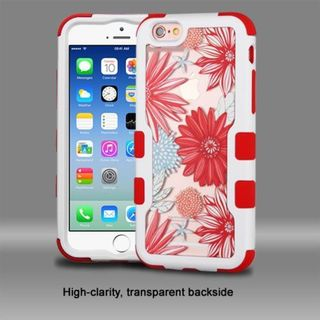 Insten Red/ White Spring Daisies Hard PC/ Silicone Dual Layer Hybrid Rubberized Matte Case Cover For Apple iPhone 6/ 6s