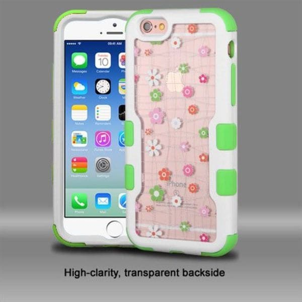 Insten Pink/ White Tiny Blossoms Hard PC/ Silicone Dual Layer Hybrid Rubberized Matte Case Cover For Apple iPhone 6/ 6s