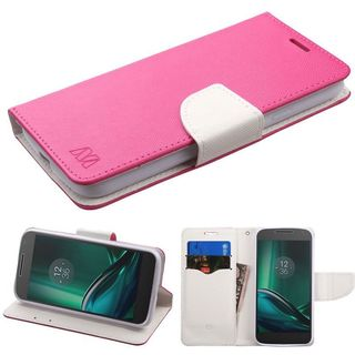 Insten Hot Pink/ White Leather Case Cover with Stand/ Wallet Flap Pouch For Motorola Moto E3