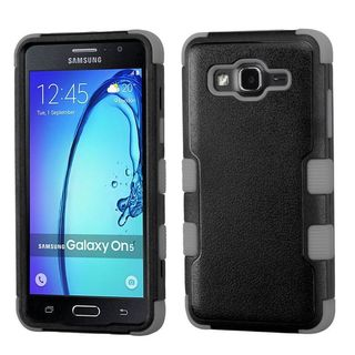 Insten Black/ Gray Tuff Hard PC/ Silicone Dual Layer Hybrid Rubberized Matte Case Cover For Samsung Galaxy On5