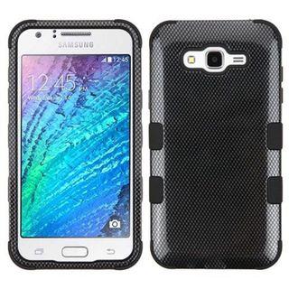 Insten Black Carbon Fiber Tuff Hard PC/ Silicone Dual Layer Hybrid Rubberized Matte Case Cover For Samsung Galaxy J7 (2015)