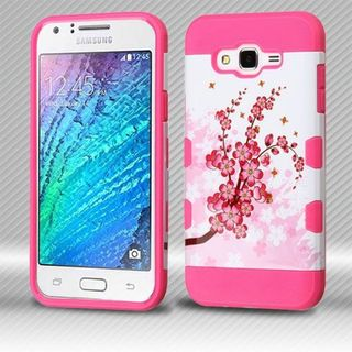 Insten Pink/ White Spring Flowers Hard Snap-on Case Cover For Samsung Galaxy J7 (2015)