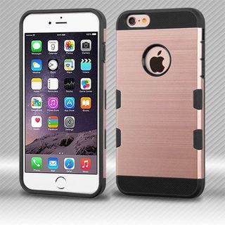 Insten Rose Gold/ Black Hard Snap-on Case Cover For Apple iPhone 6 Plus/ 6s Plus