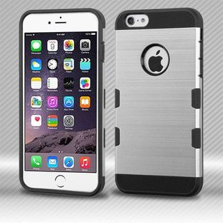 Insten Silver/ Black Hard Snap-on Case Cover For Apple iPhone 6 Plus/ 6s Plus