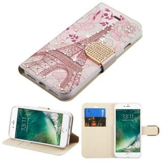 Insten Pink Eiffel Tower Leather Case Cover with Stand/ Wallet Flap Pouch/ Diamond For Apple iPhone 7