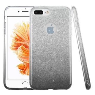 Insten Black Hard Snap-on Dual Layer Hybrid Glitter Case Cover For Apple iPhone 7 Plus