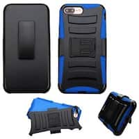 Insten Black/ Blue Hard PC/ Silicone Dual Layer Hybrid Case Cover with Holster For Apple iPhone 7 Plus