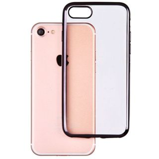 Insten Clear/ Black TPU Rubber Candy Skin Case Cover For Apple iPhone 7