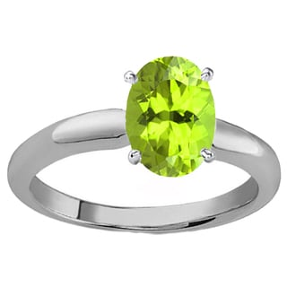 Sterling Silver 1ct TGW Oval-cut Peridot Solitaire Bridal Engagement Ring