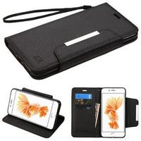 Insten Black Leather Case Cover Lanyard with Stand/ Wallet Flap Pouch For Apple iPhone 7 Plus