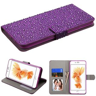 Insten Purple Leather Rhinestone Bling Case Cover with Stand/ Wallet Flap Pouch/ Photo Display For Apple iPhone 7 Plus