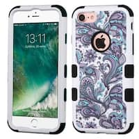 Insten Purple/ White European Flowers Tuff Hard PC/ Silicone Dual Layer Hybrid Rubberized Matte Case Cover For Apple iPhone 7