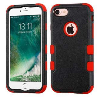 Insten Black/ Red Tuff Hard PC/ Silicone Dual Layer Hybrid Rubberized Matte Case Cover For Apple iPhone 7