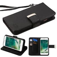Insten Black Leather Case Cover Lanyard with Stand/ Wallet Flap Pouch For Apple iPhone 7
