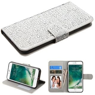Insten Silver Leather Diamond Bling Case Cover with Stand/ Wallet Flap Pouch/ Photo Display For Apple iPhone 7
