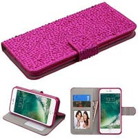Insten Hot Pink Leather Diamond Bling Case Cover with Stand/ Wallet Flap Pouch/ Photo Display For Apple iPhone 7