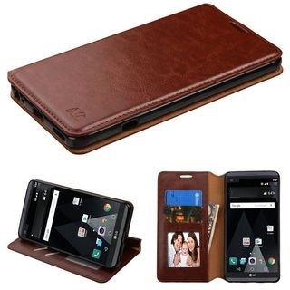 Insten Brown Leather Case Cover with Stand/ Wallet Flap Pouch/ Photo Display For LG V20