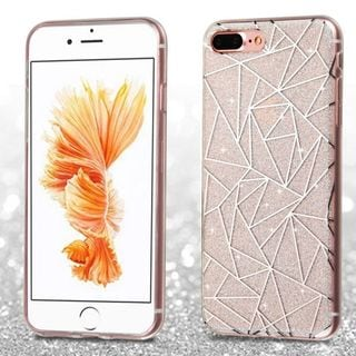 Insten White/ Silver Geometric Lines TPU Rubber Candy Skin Case Cover For Apple iPhone 7 Plus