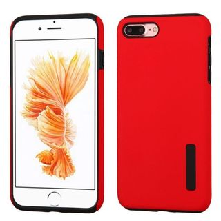 Insten Red/ Black Hard PC/ Silicone Dual Layer Hybrid Rubberized Matte Case Cover For Apple iPhone 7 Plus