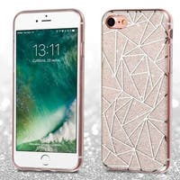 Insten White/ Silver Geometric Lines TPU Rubber Candy Skin Case Cover For Apple iPhone 7