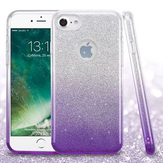 Insten Purple Hard Snap-on Dual Layer Hybrid Glitter Case Cover For Apple iPhone 7