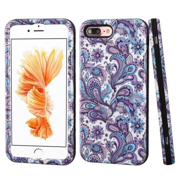 Insten Purple/ White European Flowers Verge Hard PC/ Silicone Dual Layer Hybrid Case Cover For Apple iPhone 7 Plus