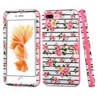 Insten Pink/ White Fresh Roses Verge Hard PC/ Silicone Dual Layer Hybrid Rubberized Matte Case Cover For Apple iPhone 7 Plus