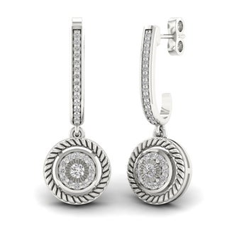 S925 Sterling Silver 1/5ct Diamond Circle Drop Earrings