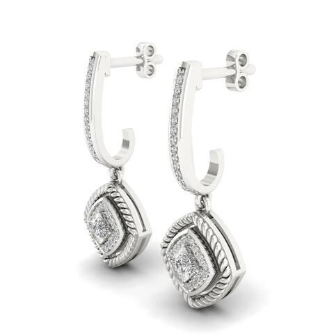 S925 Sterling Silver 1/5ct Diamond Clover Frame Drop Earrings