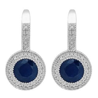 14k White Gold 2 7/8ct Round Blue Sapphire and White Diamond Halo Dangling Earrings (I-J, I1-I2)