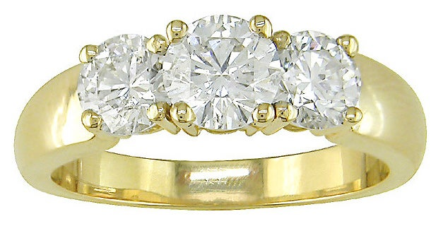 Miadora 14k Yellow Gold 1-1/2ct TDW Round Diamond Three-Stone Ring (H-I, I1)