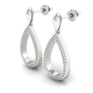 S925 Sterling Silver 1/4ct Diamond Pear-Shaped Drop Earrings