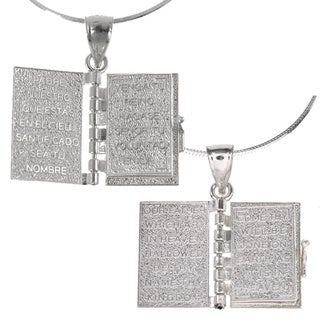 Journee Collection Sterling Silver Prayer Box Necklace (Spanish/English)