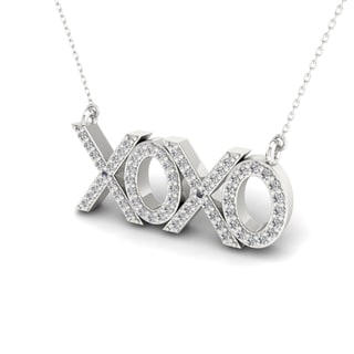 S925 Sterling Silver 1/5ct TDW Diamond XOXO Necklace