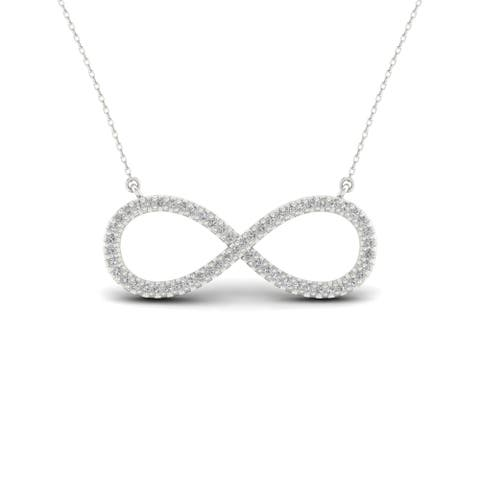 S925 Sterling Silver 1/6ct TDW Infinity Symbol Necklace - White