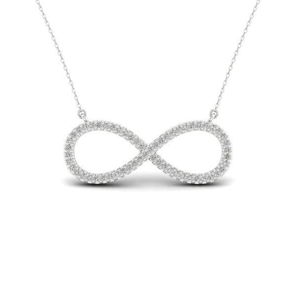 S925 Sterling Silver 16ct Tdw Infinity Symbol Necklace White