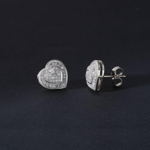 S925 Sterling Silver 1/5ct Diamond Cluster Heart Stud Earrings