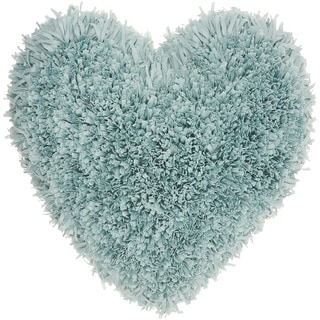 Mina Victory Heart Celadon Shag Throw Pillow (18-inch x 18-inch) by Nourison