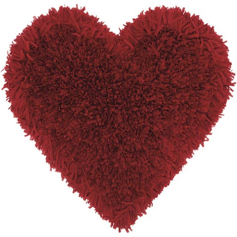 Mina Victory Heart Deep Red Shag Throw Pillow by Nourison (18-Inch X 18-Inch)