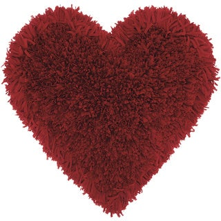 Mina Victory Heart Deep Red Shag Throw Pillow (18-inch x 18-inch) by Nourison