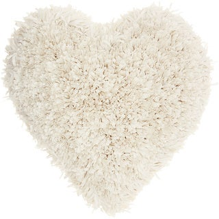 Mina Victory Heart Cream Shag Throw Pillow (18-inch x 18-inch) by Nourison