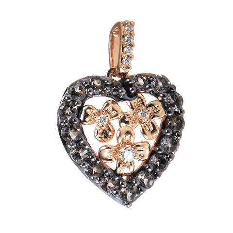 LeVian 14k Rose Gold Smoky Quartz and White Diamond Accent Heart Charm